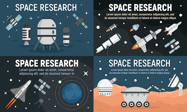 Conjunto de banner de tecnologia de pesquisa espacial