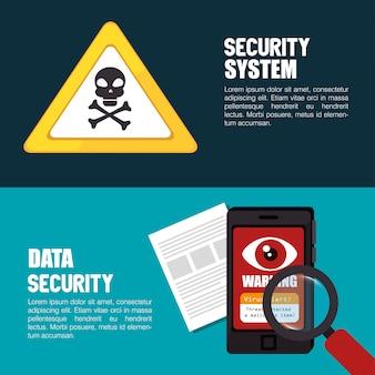 Conjunto de banner de tecnologia de sistema de segurança