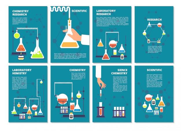 Conjunto de banner de testes de laboratório de química