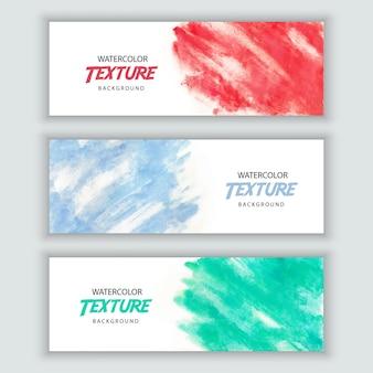 Conjunto de banner de textura em aquarela