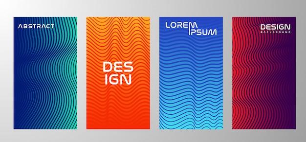 Conjunto de banner de textura gradiente de linha de fluxo ou plano de fundo