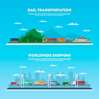 Conjunto de banner de transporte rodoviário e ferroviário