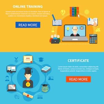 Conjunto de banner de treinamento on-line