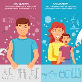Conjunto de banner de vacinação infantil e adulto
