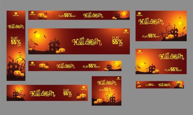Conjunto de banner de venda, cartaz e modelo com oferta de 55% de desconto