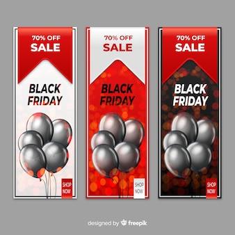 Conjunto de banner de venda de balões preto sexta-feira