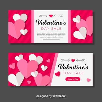 Conjunto de banner de venda de corações plana dos namorados