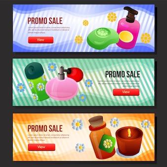 Conjunto de banner de venda de cosméticos coloridos