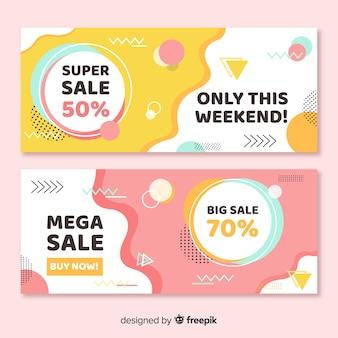 Conjunto de banner de venda de estilo memphis colorido