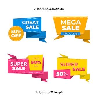 Conjunto de banner de venda de estilo origami colorido