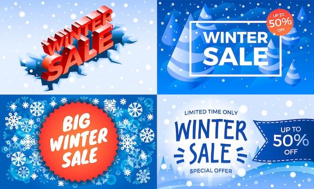 Conjunto de banner de venda de inverno. conjunto isométrico de venda de inverno