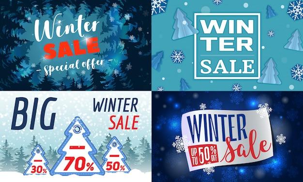 Conjunto de banner de venda de inverno. ilustração dos desenhos animados do conjunto de banner de vetor de venda de inverno