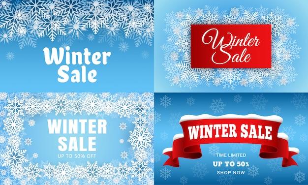 Conjunto de banner de venda de inverno