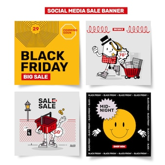 Conjunto de banner de venda de mídia social promoção