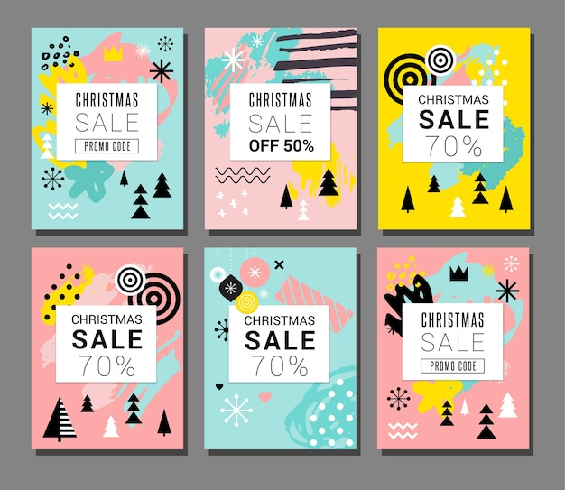 Conjunto de banner de venda de natal