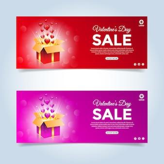 Conjunto de banner de venda de oferta especial de dia dos namorados