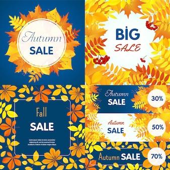 Conjunto de banner de venda final de outono