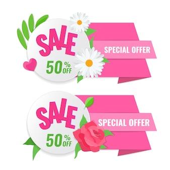 Conjunto de banner de venda primavera com rosa e camomila