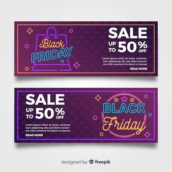 Conjunto de banner de venda sexta-feira negra de néon