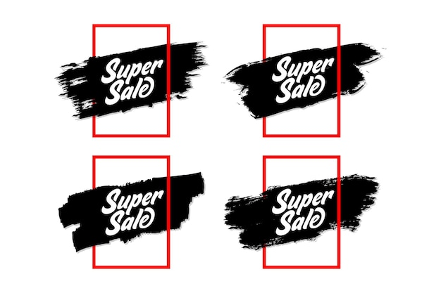 Conjunto de banner de venda simples com moldura minimalis e grunge