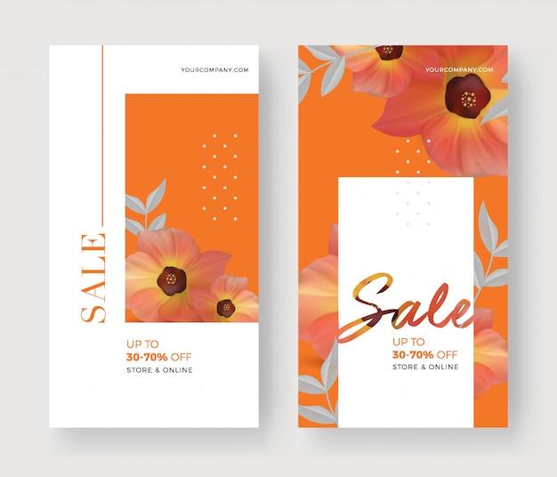 Conjunto de banner de venda verão com fundo flor e folha.