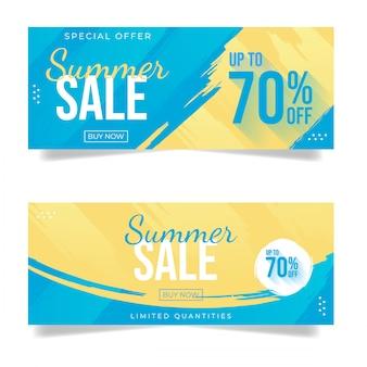 Conjunto de banner de venda verão