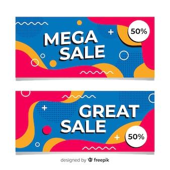 Conjunto de banner de vendas abstrato colorido