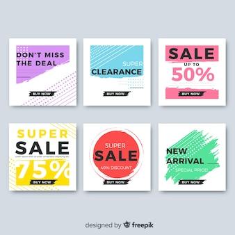 Conjunto de banner de vendas ao quadrado