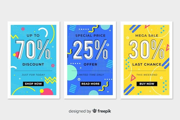 Conjunto de banner de vendas de memphis colorido