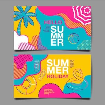 Conjunto de banner de verão