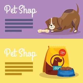 Conjunto de banner de veterinária de pet shop