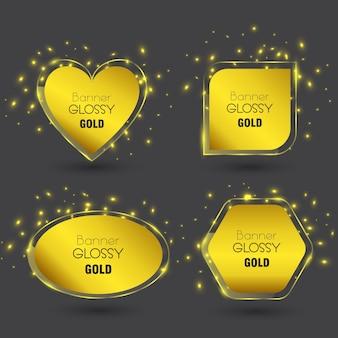 Conjunto de banner de vetor brilhante com cor ouro