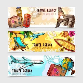 Conjunto de banner de viagens
