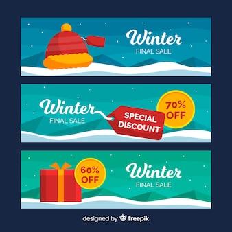 Conjunto de banner de web de venda de inverno