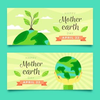 Conjunto de banner design plano mãe dia da terra