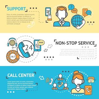 Conjunto de banner do call center