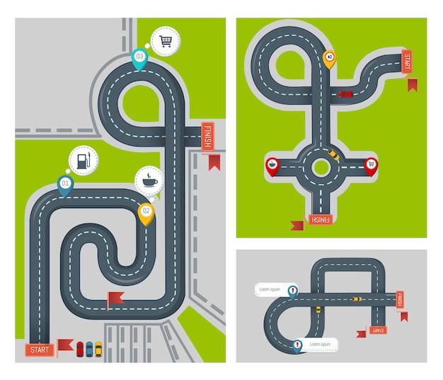 Conjunto de banner do conceito acabamento mapa