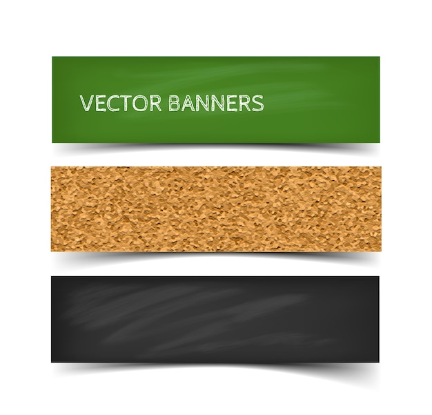 Conjunto de banner do conselho escolar de quadro verde, quadro-negro e quadro de cortiça com giz. banners da web com sombra isolada no fundo branco.