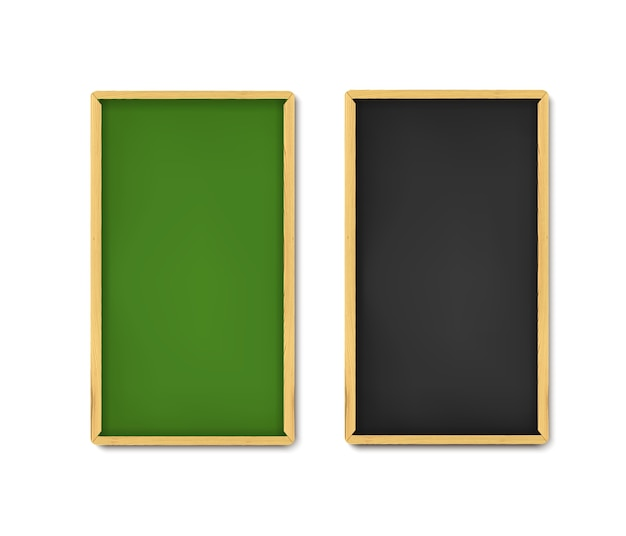 Conjunto de banner do conselho escolar. placas verdes e pretas realistas com giz e bordas de madeira.