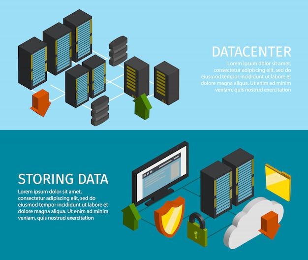 Conjunto de banner do datacenter
