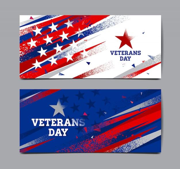 Conjunto de banner do dia dos veteranos