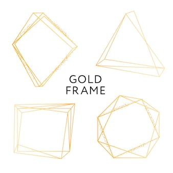 Conjunto de banner do ouro frame forma geométrica minimalismo vector design