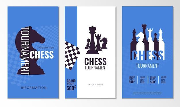 Conjunto de banner do torneio de xadrez