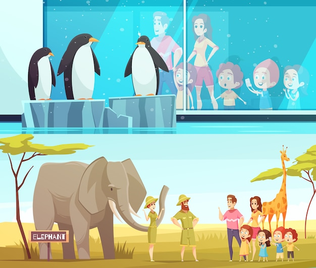 Conjunto de banner do zoológico 2 animais dos desenhos animados