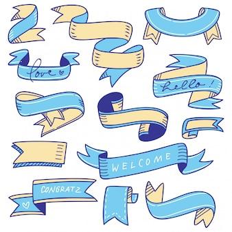 Conjunto de banner doodle isolado no branco