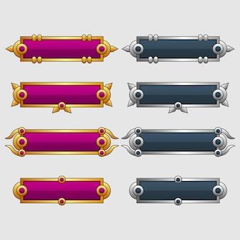 Conjunto de banner em branco ou caixa para uso na ilustração do design do jogo