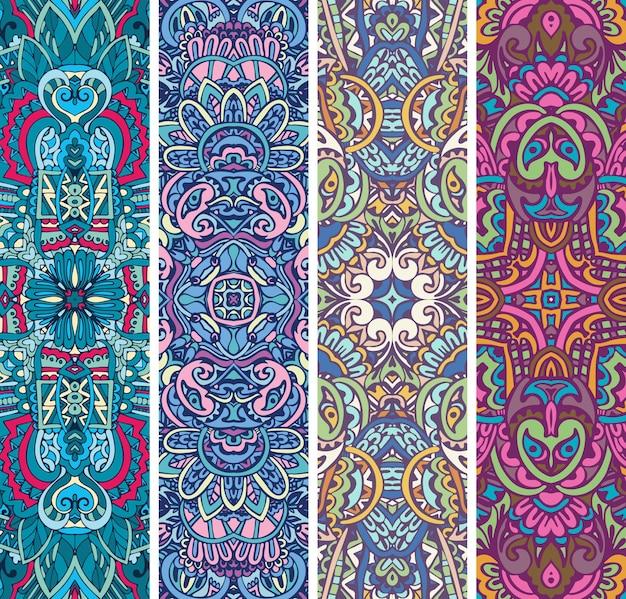 Conjunto de banner étnico ornamental colorido festivo.