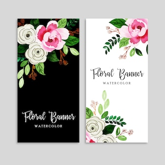 Conjunto de banner floral em aquarela
