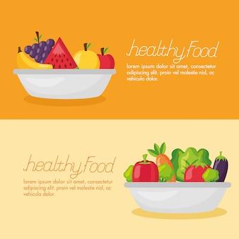 Conjunto de banner fresco de comida saudável