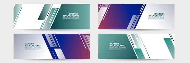 Conjunto de banner futurista abstrato com formas gradientes de verde vermelho e azul